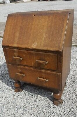 Vintage Oak Bureau over Two Drawers