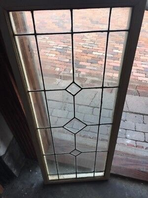 Sg 1532 Antique Beveled And Leaded Transom Window 18.25 X 45.5