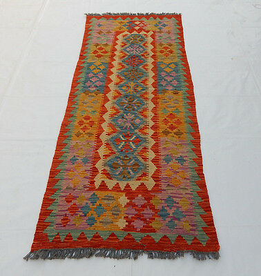 Old Traditional Hand Made Oriental Coulorful Wool Kilim Rug 199x78cm (097)