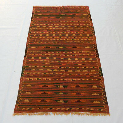 Old Traditional Hand Made Oriental Coulorful Wool Kilim Rug 192X110cm (084)