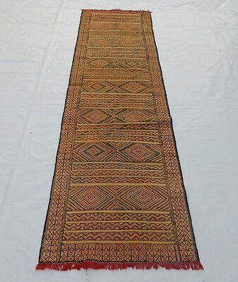 Old Traditional Hand Made Oriental Coulorful Wool Kilim Rug 260x71cm (0100)