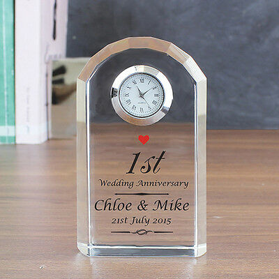 Personalised Wedding Anniversary Crystal Clock 1st Ruby Silver Golden Gift
