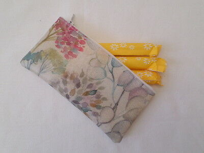 Handmade Oilcloth Tampon Case Holder - Voyage Hedgerow Fabric