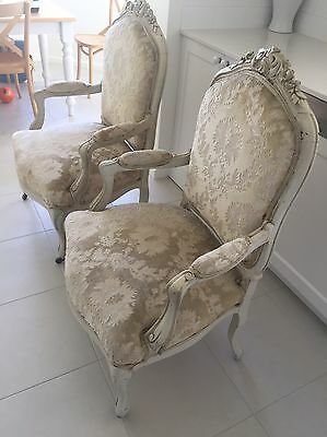 Pair 19thC Bergere Swedish Armchairs Chairs Antique Cream Timber French