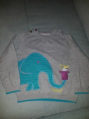Ted Baker jumper. Grey with motif of an elephant and mouse. 18 to 24 months