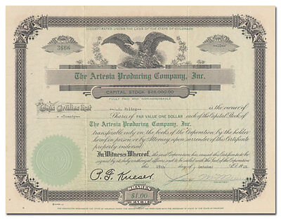 Artesia Producing Company, Inc. Stock Certificate (Colorado, New Mexico)