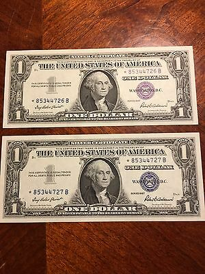 Two Uncirculated Consecutive Serial Number Star Note Silver Certificates!!!