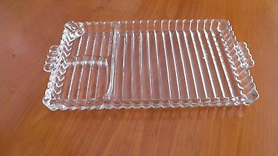 Hazel Atlas Clear Glass Divided Serving Tray Dish Ribbed Pattern w/ Handles