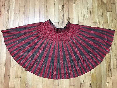 Women's L Southwest Rockabilly Square Dance Swing Full Circle Skirt Vtg Xmas Euc