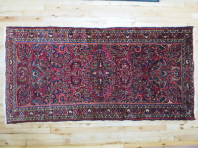 "c.1920 Antique Handmade Hand Knotted ~ SAROUK ~ Persian Oriental Rug 3'3"" x 6'5"""