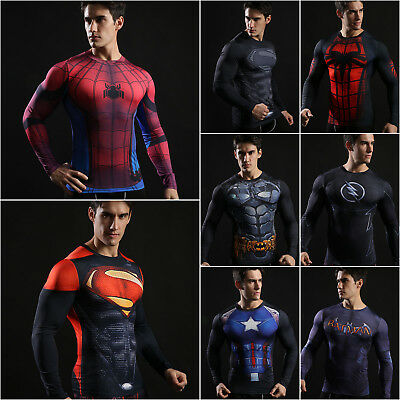 Men T Shirt Marvel Superhero Compression Base Layer Long Sleeve Top Jersey