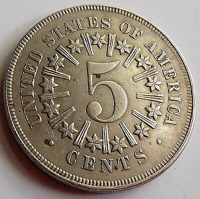 1866 Shield V 5C Nickel W/ Rays - This One Will Not Last!  #4399 Free S&h!!