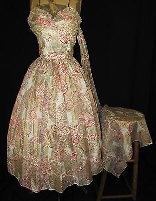 1950's-60's Shimmering Gold, Red, White Party Dress W/attached Scarf