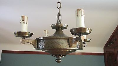 Arts & Crafts Stickley Brass Chandelier Light Fixture C1920