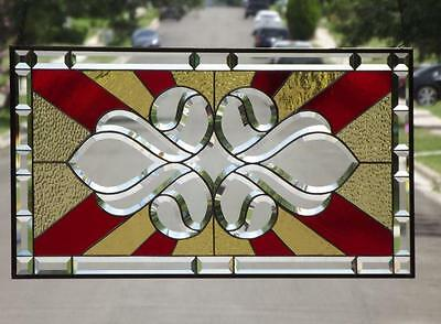"""• Sunny Side Up •Beveled Stained Glass Window Panel • 32 ¼""""-17 ¼"""" (83-44cm)"""