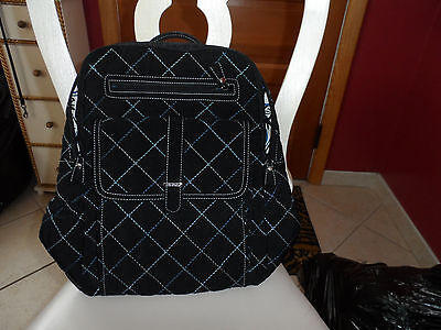 Vera Bradley black microfiber Ultimate backpack  with blue and white stitches