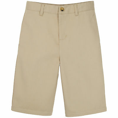 Boys School Uniform Shorts Tan Size 8 Khaki Adjustable Waistband Flat Front NWT