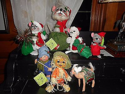"""Retired  ANNALEE 11"""" LARGE Mouse Mice Doll Christmas Reindeer Scarecrow"""