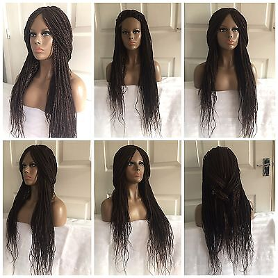"""26"""" Glueless #4 Golden Brown Front Lace Small Head 220% Density Braids Full Wig"""