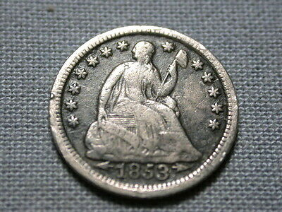 old silver 1853 SEATED LIBERTY HALF DIME with arrows 1/2 10c nice details