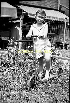 1940s Cute Young Boy on Old Scooter ORIGINAL PHOTO NEGATIVE