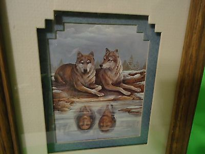 """Life Mates"" Art Wolves And Arrowhead By Barbara Roberts Solid Oak Frame"
