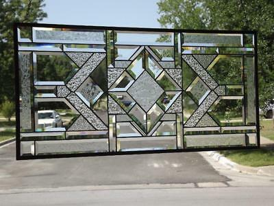 "•  Rediant Reflection •• Beveled Stained Glass Window Panel • 35 1/2""x16 3/4""(9"