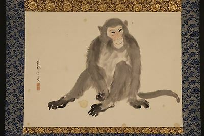 """JAPANESE HANGING SCROLL ART Painting """"Monkey"""" Asian antique  #E6593"""