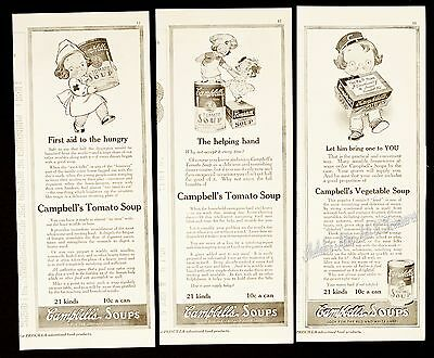 (3) Orig 1916 CAMPBELL'S SOUP Kids Being Helpful Tomato Vegetable Vtg PRINT ADS