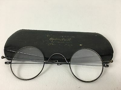 Antique Steel Rim Spectacles With Folding Ear Extensions & Case 19th Century