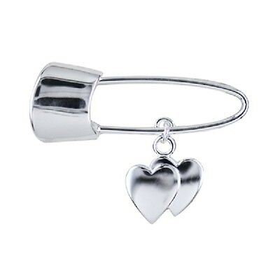 Babies/Toddlers Sterling Silver Baby Pin with double Heart Drop Charm