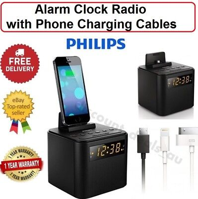 Clock Radio FM iPod iPhone Android Charger Dock Docking Station Alarm