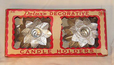 Vintage Christmas Holiday Deluxe Decorative Candle Holders Foil Flowers w/ Box