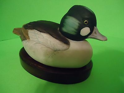 Collectible Duck Figurine Porcelain On Wood Base