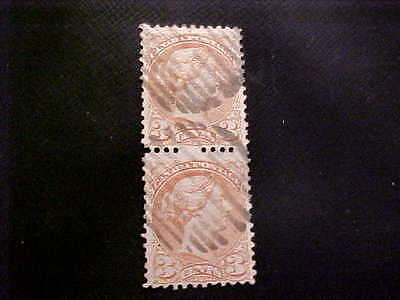 CANADA Used Vertical Pair Scott # 37 Queen Victoria with Missing Perforations FS