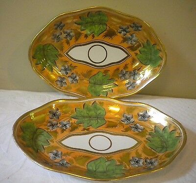 Pair Antique Early English Heavy Porcelain Hand Painted Dessert Platters Dishes