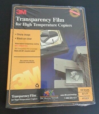 NEW 3M Transparency Film PP2950 for Copiers 100 Sheets 8.5 x 11 High Temperature