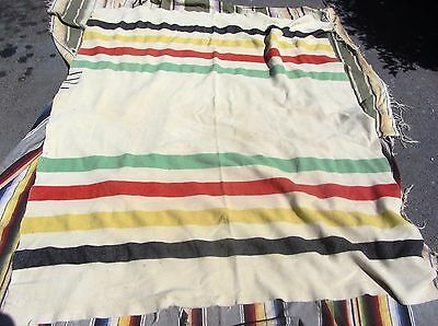 Vintage 3 1/2 Point Striped Colorful Trade Blanket For Clothing Pillows Etc.