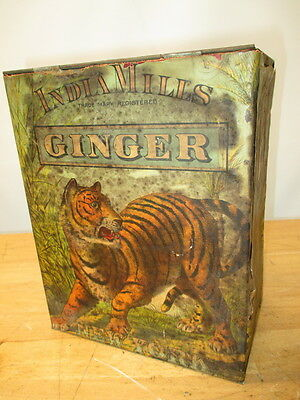 c1800s INDIA MILLS BRAND GINGER CHROMOLITHO PAPER LABEL SPICE TIN GREAT GRAPHICS