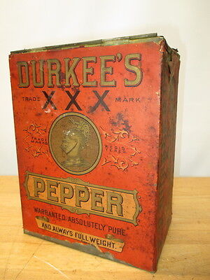 c1800s DURKEE BRAND PEPPER CHROMOLITHO PAPER LABEL SPICE TIN GREAT GRAPHICS
