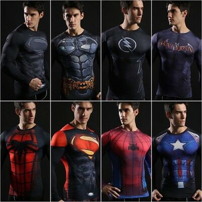 Mens Marvel T Shirt Superhero Compression Under Base Layer Tight Spiderman