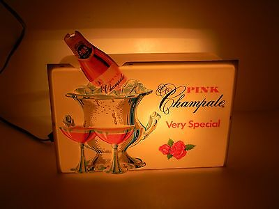 Vintage 1970's Very Special Pink Champale Malt Ale Lighted Advertising Sign