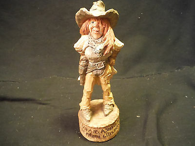 "1998 Chris Hammack ""spit N Whittle"" Resin Western Cowboy/cowgirl Hand Signed"