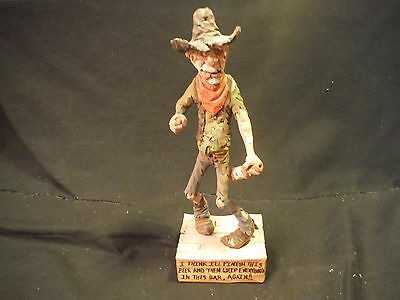 1992 Great Orig.rare Hand Carved Wood Western Cowboy Double Signed Chris Hammack