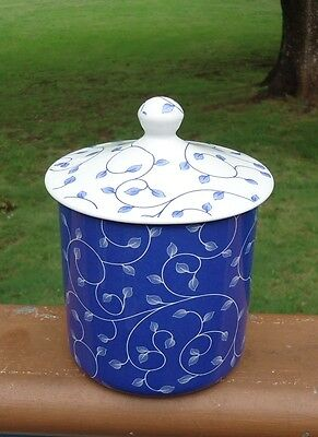Lovely Spode England Blue & White Penny Lane Leaf Band Canister & Lid