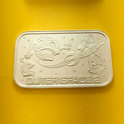 Outer Space 2 Silver 1 Oz Bar By Cmg Mint .999 Fine Silver