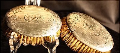 Pair Art Nouveau Sterling Silver Brushes Engraved Flowers