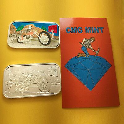Barrely Holdin On Enameled & Plain Silver 1 Oz Bar Set By Cmg Mint (2 X 1 Oz)
