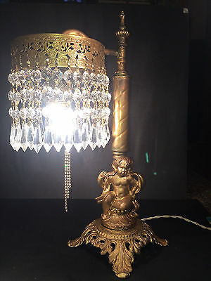 Charming Antique Victorian Cherub Table Or Desk Lamp W/ Crystals~! C. 1920