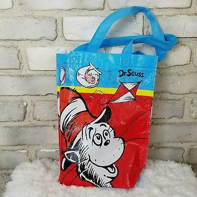"""Dr. Seuss The Cat In The Hat Fish Tote Book Bag Collectibles Blue 10""""x12""""  NWOT"""